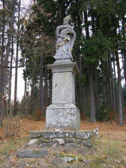 Socha sv. Jana Nepomuckého a sloup se sochou sv. Donáta v Oselcích
